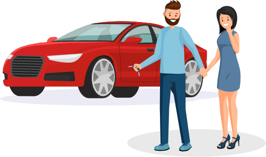 two people and a car illustration